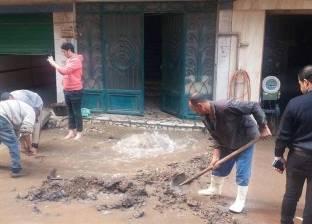 إصلاح كسر خط مياه بشارع البطل أحمد عبد العزيز في المهندسين