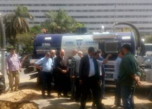 محافظ القاهرة يتفقد موقع كسر ماسورة مياه غرب مدينة نصر