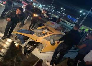 """على طريق السويس.. انقسام سيارة لامبورجيني نصفين بسبب """"السرعة الزائدة"""""""