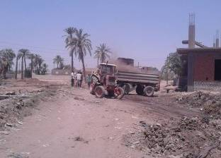 حملة نظافة لرفع المخلفات والقمامة بمنطقة مركز شباب الروضة بالفيوم