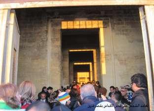 تعامد الشمس على قدس أقداس معبد حتشبسوت وسط شبورة جوية