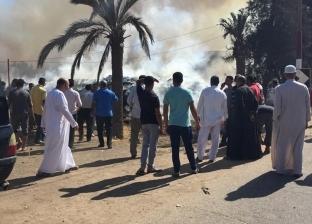 بالصور| السيطرة على حريق في قش الأرز بأرض زراعية بكفر الشيخ