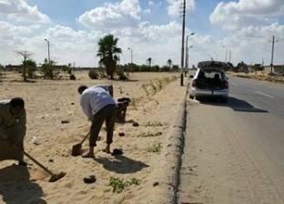 إزالة السواتر الترابية بأحياء العريش وإضاءة طريق بئر العبد بشمال سيناء