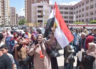 """""""طب بيطري المنوفية"""" تشارك بحشد كبير في اليوم الثاني للاستفتاء"""