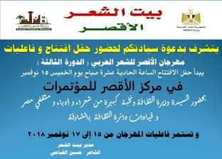 الخميس.. افتتاح مهرجان الشعر العربي في الأقصر