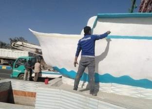 بالصور| أعمال تطوير وتجميل موسعة بمدينة القصاصين في الإسماعيلية
