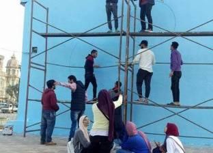"""20 طالبا في المنصورة ينفذون جدارية """"منصورة في أجمل صورة"""""""