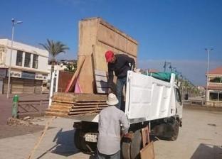 """حملة لرفع إشغالات شارع النيل في """"رأس البر"""" بدمياط"""