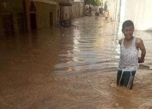 بالصور| السيول تضرب عزبة سعيد التابعة لقرية المعابدة بأسيوط