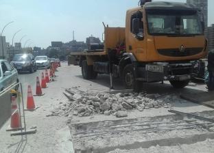 بالصور  أعمال صيانة فواصل كوبري عباس في اتجاه القاهرة