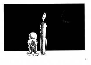 """بالصور  """"حنظلة"""".. بالورقة والقلم رسومات واجهت الاحتلال"""