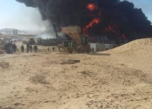 """مصدر بـ""""الدفاع المدني"""": السيطرة على 60% من حريق حقل بترول """"عسل"""""""