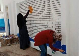 """""""ثقافة المنيا"""" تنفذ جدارية على أسوار القابضة للمياه ترشيدا للاستهلاك"""