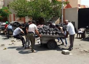 إزالة الإشغالات ومخلفات قطع غيار السيارات بمحيط المدارس في بورسعيد