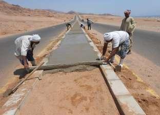 بالصور| رئيس مدينة دهب يتفقد أعمال الخرسانة في وادي قني