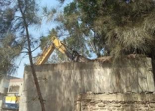 بالصور  إزالة مدرسة آيلة للسقوط بقرية الرياض في دمياط