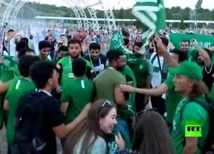 بالفيديو  ماذا فعل الجمهور السعودي في روسيا بعد الفوز على منتخب مصر؟