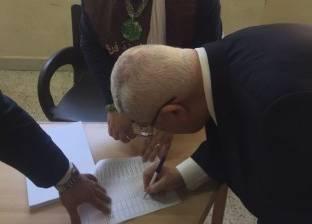 بالصور| عدلي منصور يدلي بصوته في الانتخابات الرئاسية