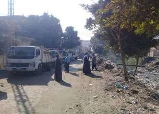 رفع المخلفات ونواتج التطهير خلال حملة للنظافة بمركز سمالوط في المنيا