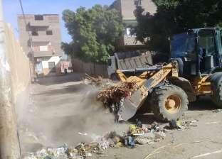رفع 300 طن مخلفات وقمامة خلال أسبوع من قرية الغنايم بأسيوط