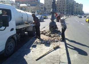 ترميم أجزاء من الجزيرة الوسطى بمدخل شارع قناة السويس بالإسكندرية