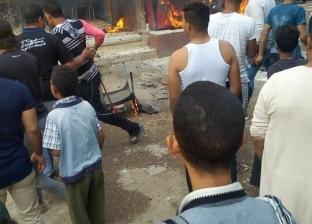 إصابة طفل في حريق محل كشري ومقهى بالغنايم في أسيوط