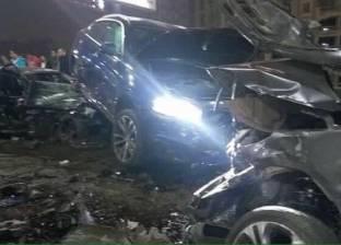 """""""الوطن"""" تنشر صور حادث التصادم على كوبري أكتوبر.. 4 سيارات تحطمت"""