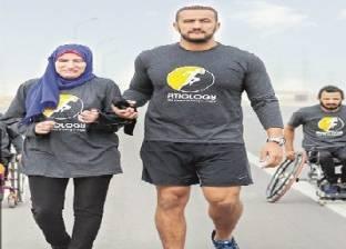 5 من متحدى الإعاقة يشاركون بماراثون جرى من القاهرة لـ«السخنة»