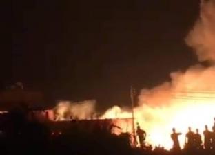 حريق هائل يلتهم مخزون شونة أقماح في أسيوط