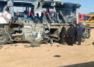 بالصور| حادث تصادم أتوبيس بسيارة نقل ومصرع 4 وإصابة 19 طريق سيوة