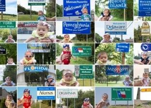بالصور| رضيعة 5 أشهر تزور جميع الولايات الأمريكية