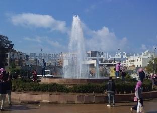 بالصور| بدء التشغيل التجريبى لـ نافورات المياه بكفر الشيخ