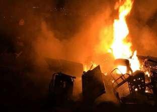 """نشوب حريق بمصنع لتدوير المخلفات بقرية """"عبد القادر"""" بالإسكندرية"""