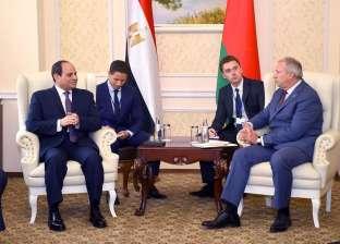 بالصور| الرئيس السيسي يلتقي رئيس وزراء بيلاروسيا