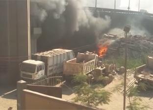 اللحظات الأولى  لحريق في مخزن تابع لحي الهرم