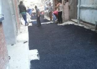 متابعة أعمال تمهيد الطرق بنطاق حي الجمرك بالإسكندرية