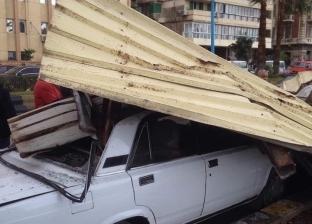 """تحطم سيارتين سقطت عليهما """"تندة"""" من أعلى استراحة محكمة الإسكندرية"""