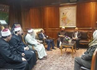 """محافظ القليوبية يستقبل وزير الأوقاف قبل افتتاح مسجد """"الرحمن الرحيم"""""""