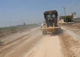 رصف طريق دمشير الغربي بالمنيا ورفع المخلفات على الترع والمصارف