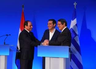 الرئاسة: قمة اليونان الثلاثية أكدت تعظيم جهود مكافحة الإرهاب