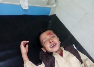 """بالصور  إصابة طالب صدمه """"موتوسيكل"""" أمام مدرسة بأسيوط"""