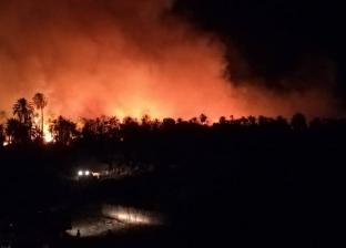 نيران حرائق الراشدة تصل إلى منازل القرية بسبب سرعة الرياح