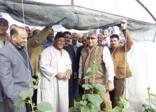 محافظ الوادي الجديد يتفقد مشروعات الصوب الزراعية للشباب في الداخلة