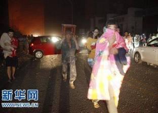 بالصور  ألسنة اللهب الناتجة عن انفجار شحنة من المتفجرات في الصين