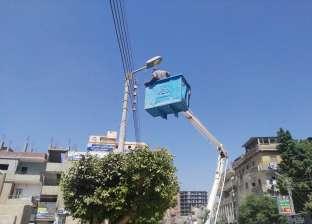 حملة لصيانة أعمدة الإنارة وكشافات الكهرباء بقلين في كفر الشيخ