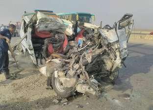 الصور الأولى لحادث الطريق الصحراوي بني سويف