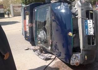 بالأسماء| إصابة 4 مجندين إثر انقلاب سيارة شرطة على طريق الإسماعيلية