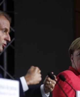 مؤتمر صحفي للرئيس الفرنسي والمستشارة الألمانية في اليوم الثاني لقمة مجموعة السبع