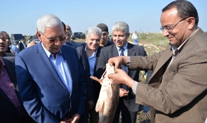 منى محرز وشاروبيم يفتتحان المزرعة السمكية ببحيرة المنزلة