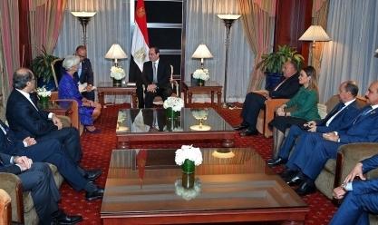 """السيسي خلال لقاء """"لاجارد"""": حريصون على جذب مزيد من الاستثمارات الأجنبية"""